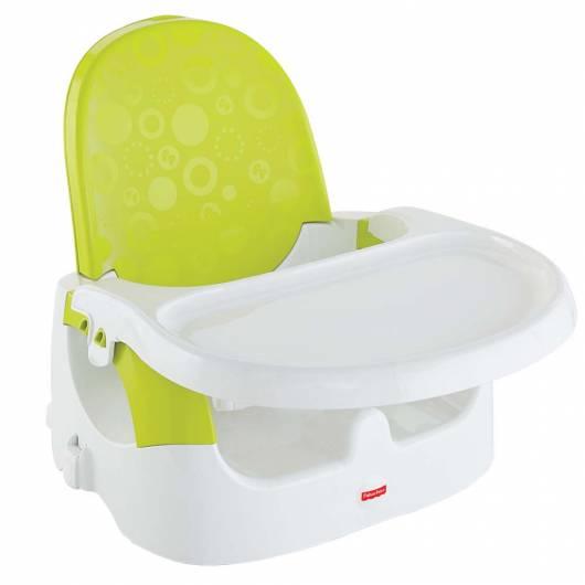 Cadeira de alimentação: Booster verde e branca
