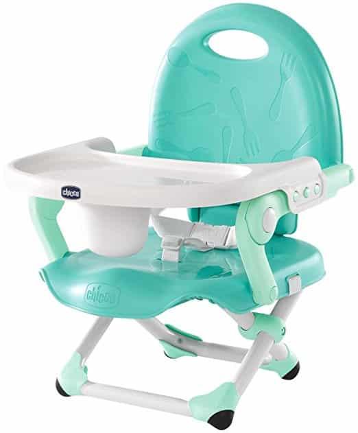 Cadeira de alimentação: Booster azul e branca