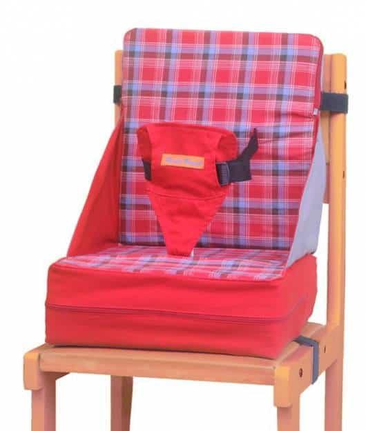 Cadeira de alimentação: Portátil vermelha e cinza