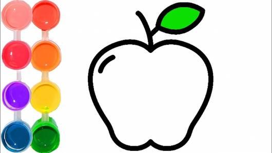 desenhos de frutas para colorir maça com folha