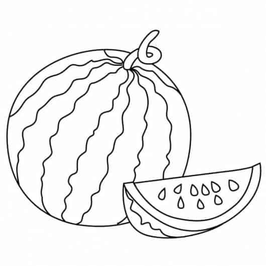 melancia inteira em desenhos de frutas para colorir