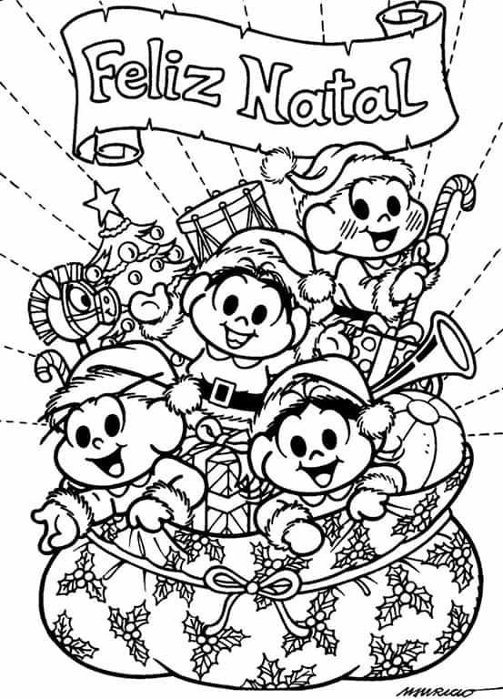 desenho de natal turma da Mônica