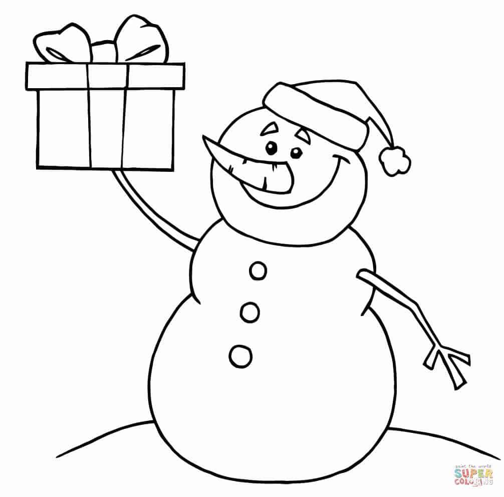 boneco de neve com presente