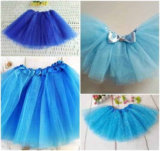 modelos de saia azul