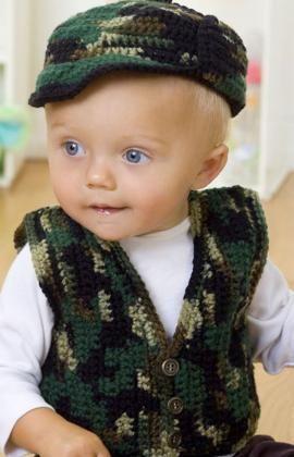 Colete Infantil Masculino: Em crochê camuflado