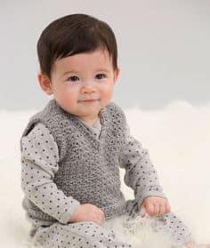 Colete Infantil Masculino: Em crochê cinza