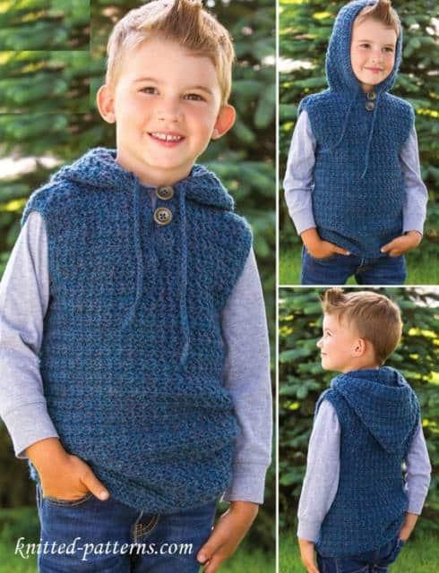 Colete Infantil Masculino: Em crochê azul