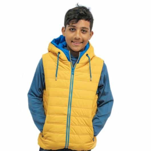 Colete Infantil Masculino: Com zíper amarelo