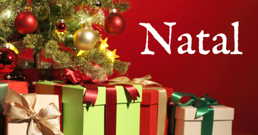 Mensagem de natal com presentes