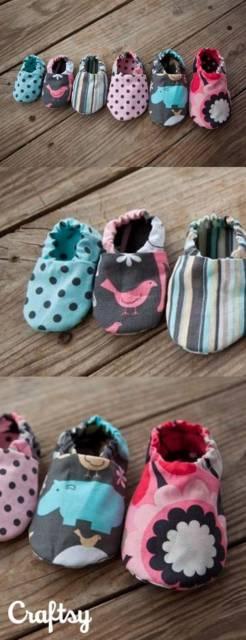Sapatinho de bebê: Em tecido