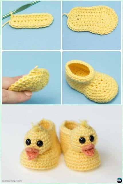 Sapatinho de bebê: Em crochê de patinho