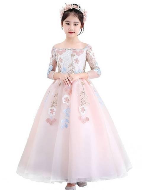 Vestido longo infantil: Rosa para festa