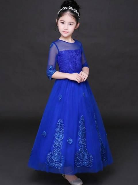 Vestido longo infantil: Azul royal para festa