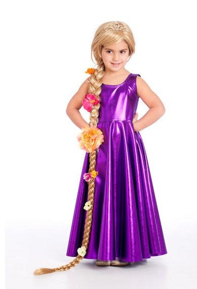 Vestido longo infantil: Rapunzel