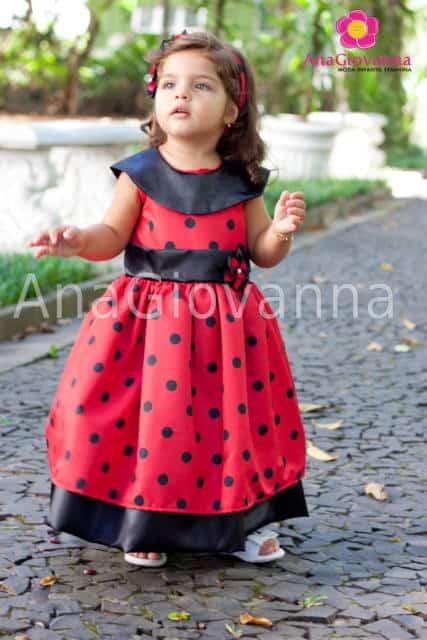 Vestido longo infantil: Ladybug