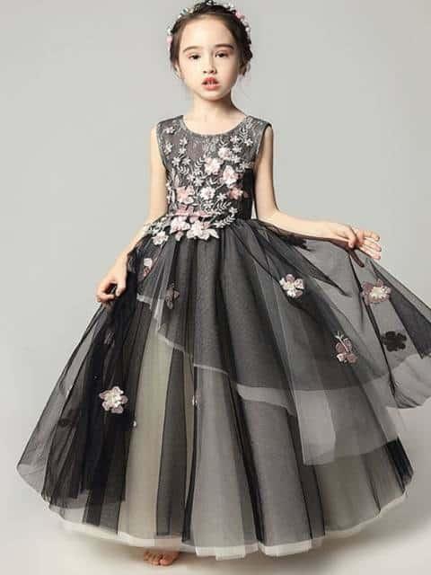 Vestido longo infantil: Para formatura preto