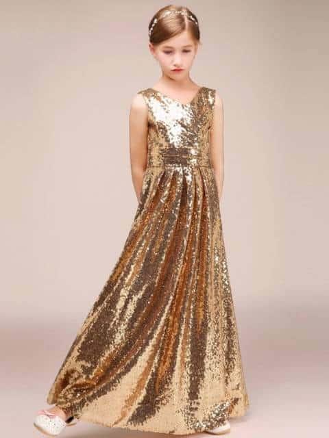 Vestido longo infantil: Para formatura dourado