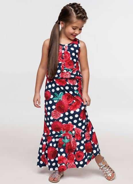 Vestido longo infantil: Para formatura floral