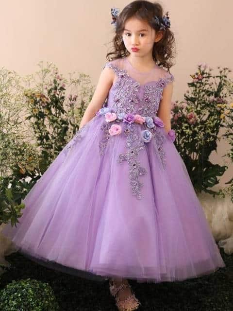 Vestido longo infantil: Para formatura lilás