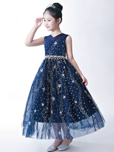 Vestido longo infantil: Azul escuro para festa
