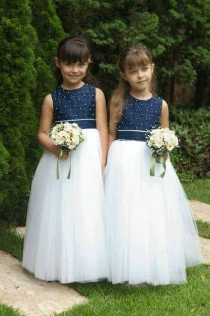 Vestido longo infantil: Dama de honra branco e azul