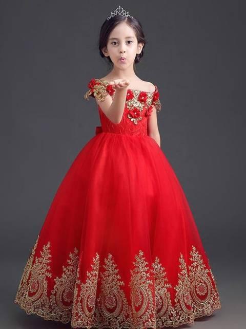 Vestido longo infantil: Vermelho para festa