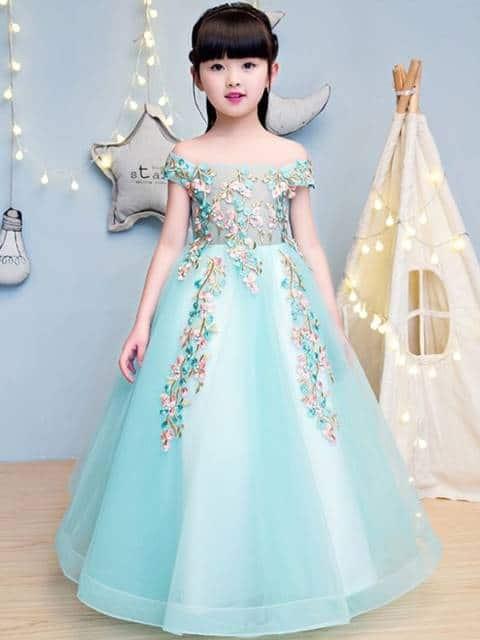 Vestido longo infantil: Azul para festa