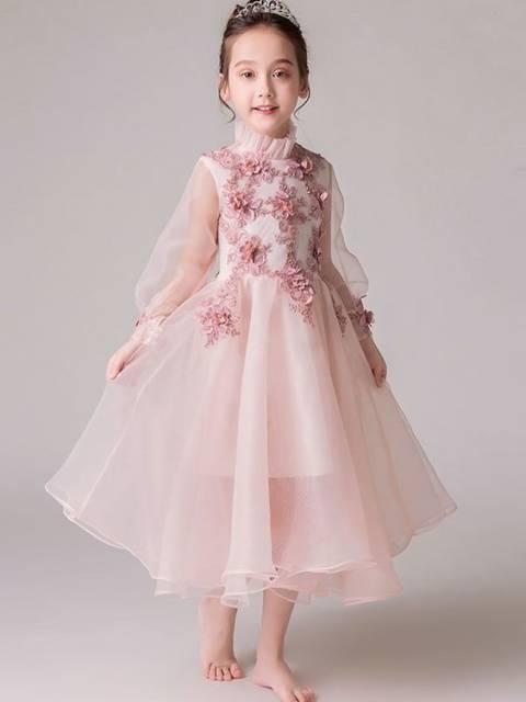 Vestido longo infantil: Rosa com florespara festa