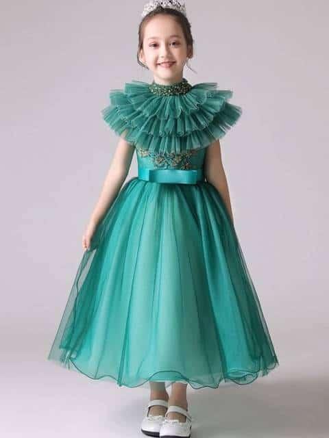 Vestido longo infantil: Verde para festa