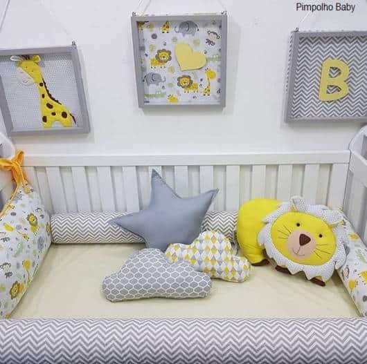 quartinho de bebê cinza e amarelo