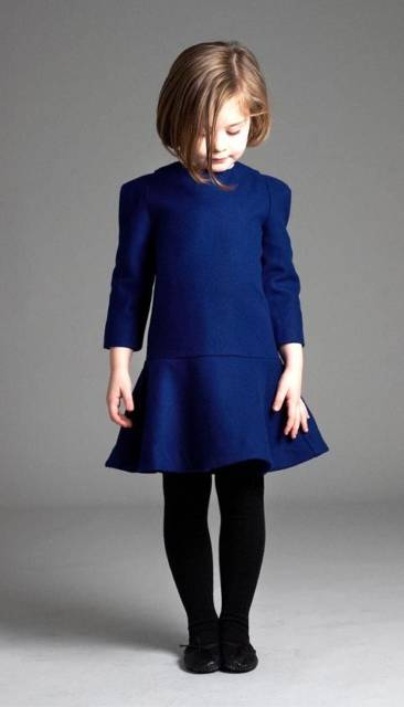 look infantil com vestido azul