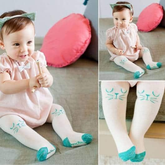 look bebê vestido com meia-calça