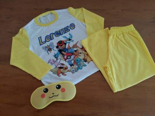 Pijama personalizado para meninos do Pokemom