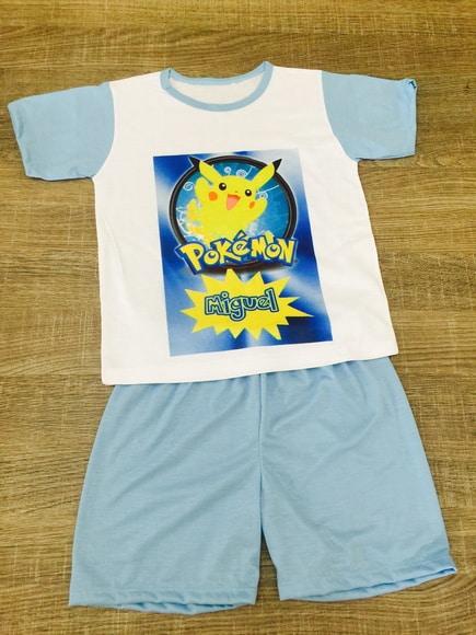 Pijama de verão personalizado do Pikachu