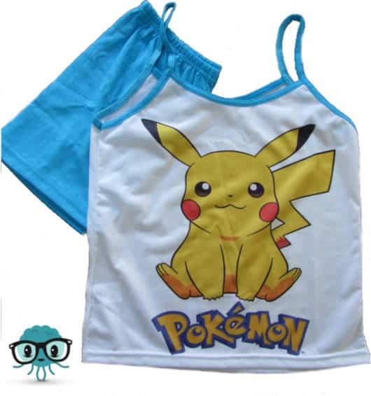 Modelo diferente de pijama Pokemon com blusa de alcinha
