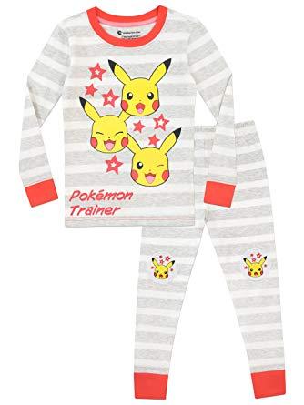 Pijama listrado com estampa do Pikachu