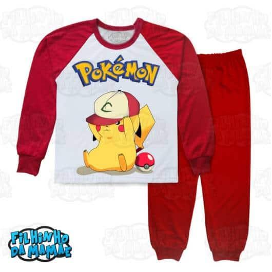 Pijama com estampa do Pikachu em vermelho e branco, que tal?
