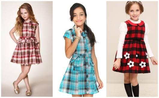 Há modelos de vestidos xadrez para meninas de todas as idades