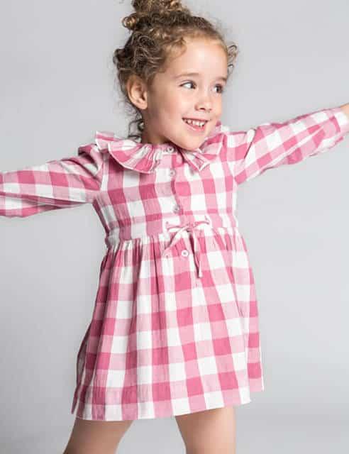 vestido xadrez rosa e branco infantil