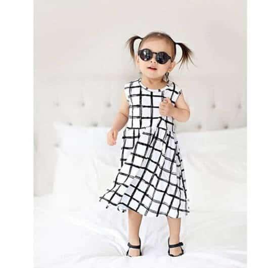 vestido xadrez infantil preto e branco
