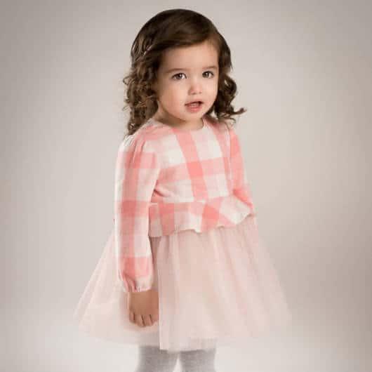 Vestido xadrez rosa e branco infantil perfeito para festas