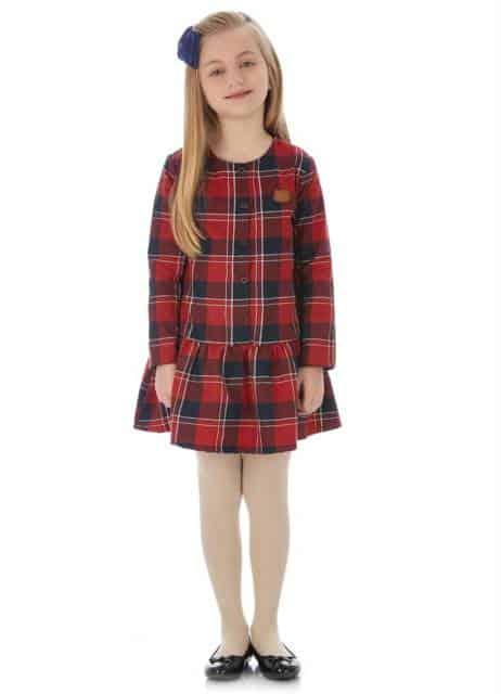 Vestidinho de manga longa vermelho xadrez