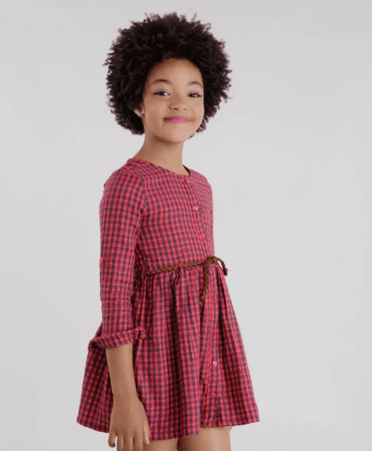Olha que vestido lindo xadrez vermelho e branco