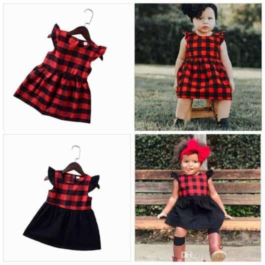 Duas opções diferentes de vestidos com xadrez vermelho e preto