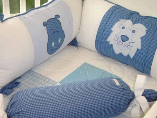 Kit berço azul e branco Safari