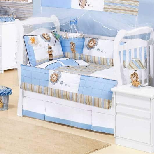 Kit berço Safari todo azul para combinar com o quarto
