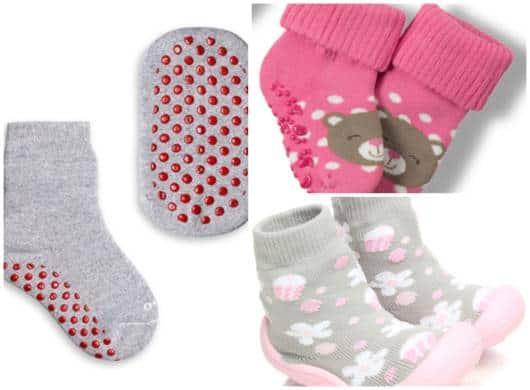 As meias com antiderrapante são as mais seguras para seu bebê