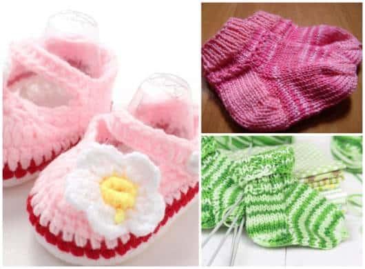 Você mesma pode fazer meias lindas de crochê ou tricô para seu bebê
