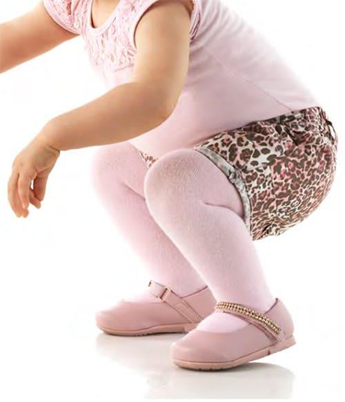 Look rosa para bebê com meia-calça