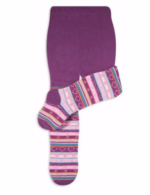 Dica de meia-calça roxa para bebê com estampa de listras